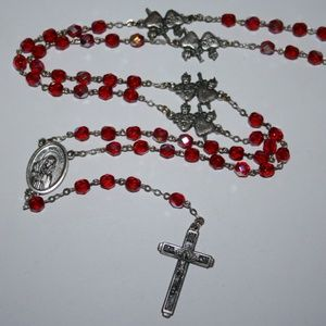 Beautiful red crystal mother Mary Rosary necklace